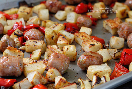 Roasted Potatoes, Chicken Sausage And Peppers Recipe — Dishmaps